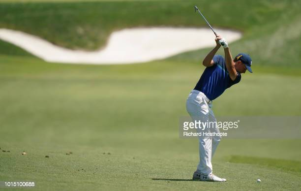 Jordan Spieth of the United States plays a shot on the fifth hole during the third round of the 2018 PGA Championship at Bellerive Country Club on...