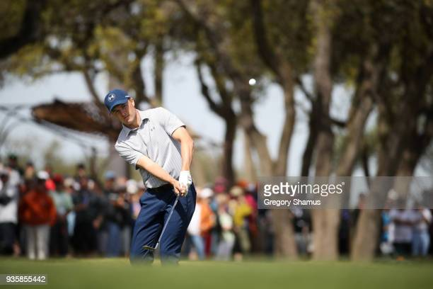 Jordan Spieth of the United States plays a shot on the first hole during the first round of the World Golf ChampionshipsDell Match Play at Austin...
