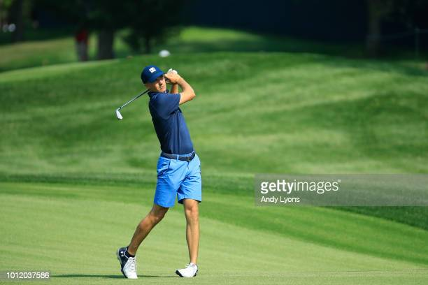 6 Jordan Spieth of the United States plays a shot on the fourth hole during a practice round prior to the 2018 PGA Championship at Bellerive Country...