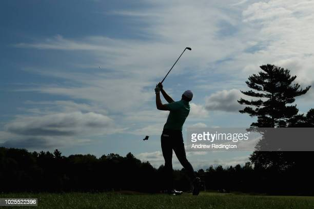 Jordan Spieth of the United States plays a shot on the second hole during the first round of the Dell Technologies Championship at TPC Boston on...