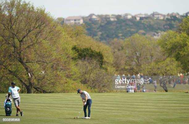 Jordan Spieth of the United States plays a shot on the second hole during the first round of the World Golf ChampionshipsDell Match Play at Austin...