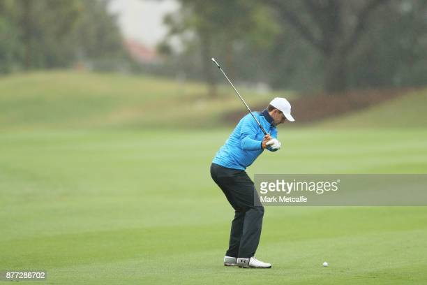 Jordan Spieth of the United States plays an approach shot during the ProAm ahead of the 2017 Australian Golf Open at The Australian Golf Club on...