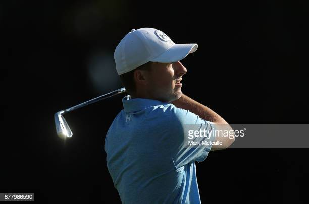 Jordan Spieth of the United States plays an approach shot on the 14th hole during day two of the 2017 Australian Golf Open at the Australian Golf...