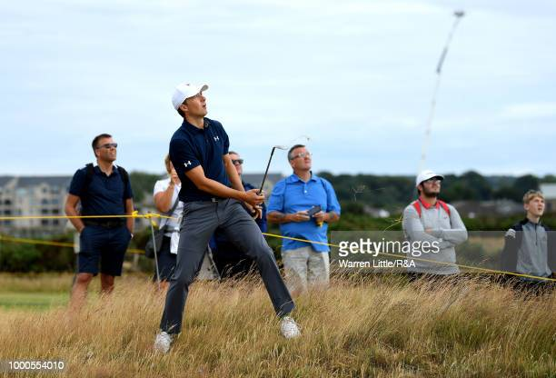 Jordan Spieth of the United States plays at the 14th hole while practicing during previews to the 147th Open Championship at Carnoustie Golf Club on...