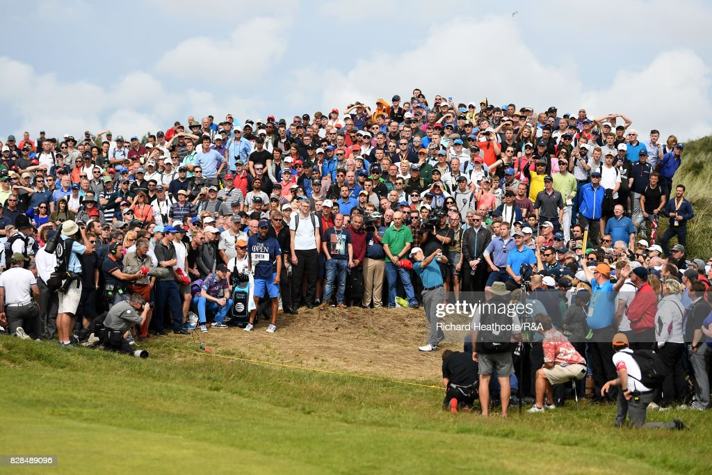 Jordan Spieth of the United States plays from the crowd on the 6th hole during the final round of the 146th Open Championship at Royal Birkdale on July 23, 2017 in Southport, England.