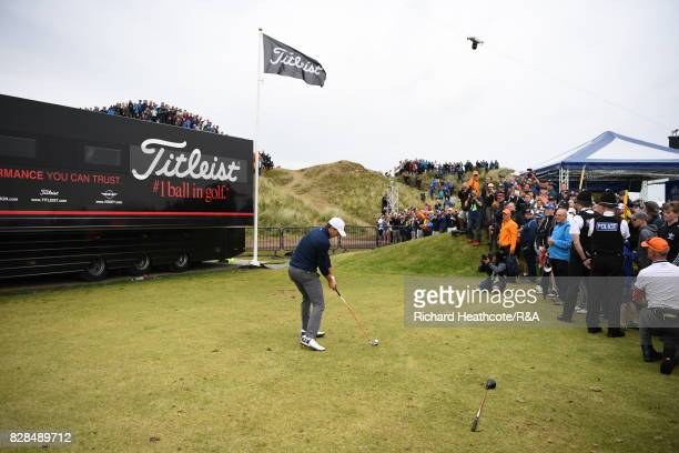 Jordan Spieth of the United States plays from the driving range alongside the 13th hole during the final round of the 146th Open Championship at...