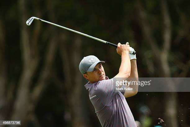 Jordan Spieth of the United States plays his first shot on the 1st hole during day two of the Australian Open at the Australian Golf Club on November...