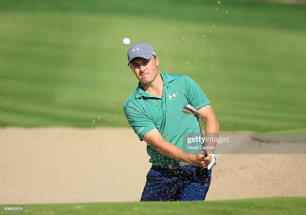 Jordan Spieth of the United States plays his fourth shot at the par 5, second hole during the first round of the 2016 Abu Dhabi HSBC Golf Championship at the Abu Dhabi Golf Club on January 21, 2016 in Abu Dhabi, United Arab Emirates.