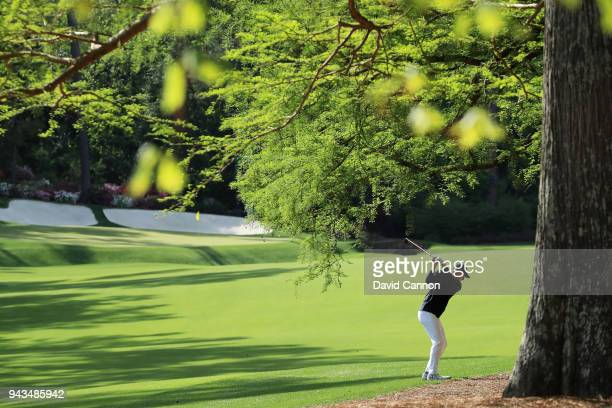 Jordan Spieth of the United States plays his second shot on the 13th hole during the final round of the 2018 Masters Tournament at Augusta National...