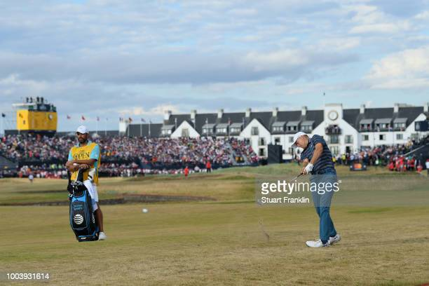 Jordan Spieth of the United States plays his second shot on the 17th hole during the final round of the 147th Open Championship at Carnoustie Golf...