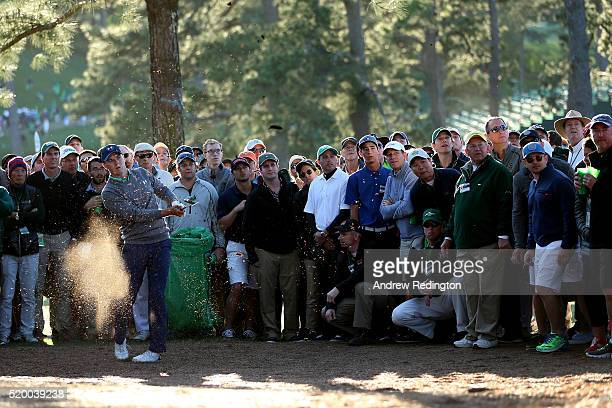 Jordan Spieth of the United States plays his second shot on the 17th hole during the third round of the 2016 Masters Tournament at Augusta National...