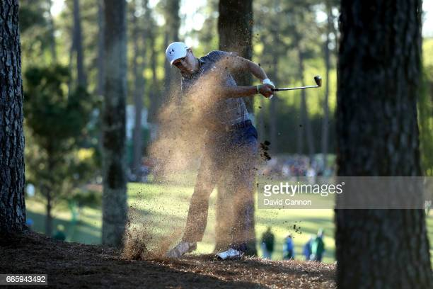Jordan Spieth of the United States plays his second shot on the 17th hole during the second round of the 2017 Masters Tournament at Augusta National...