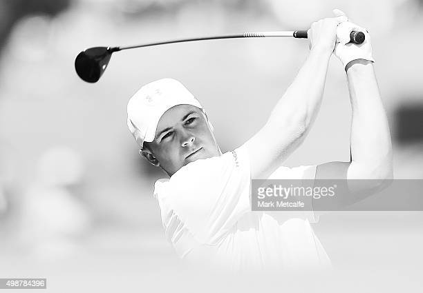 Jordan Spieth of the United States plays his second shot on the 5th hole during day one of the 2015 Australian Open at The Australian Golf Club on...