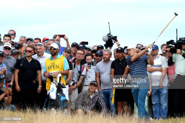 Jordan Spieth of the United States plays his second shot on the 6th hole during the final round of the Open Championship at Carnoustie Golf Club on...