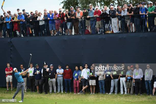 Jordan Spieth of the United States plays his second shot on the fifth hole during the final round of the 146th Open Championship at Royal Birkdale on...