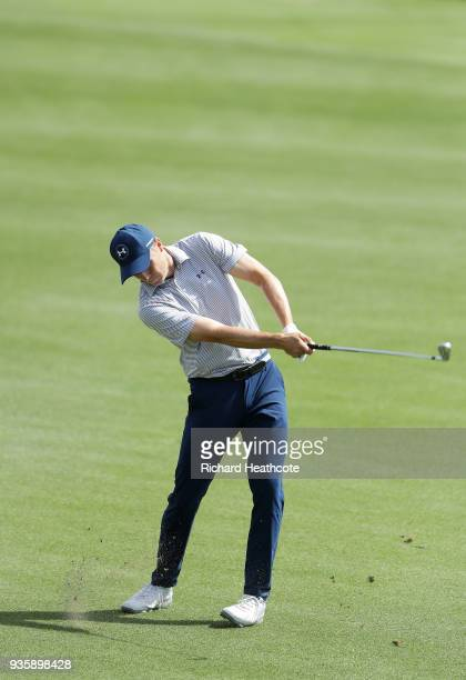 Jordan Spieth of the United States plays his second shot on the second hole during the first round of the World Golf ChampionshipsDell Match Play at...