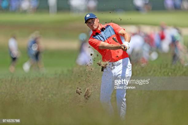 Jordan Spieth of the United States plays his second shot on the fourth hole during the first round of the 2018 US Open at Shinnecock Hills Golf Club...