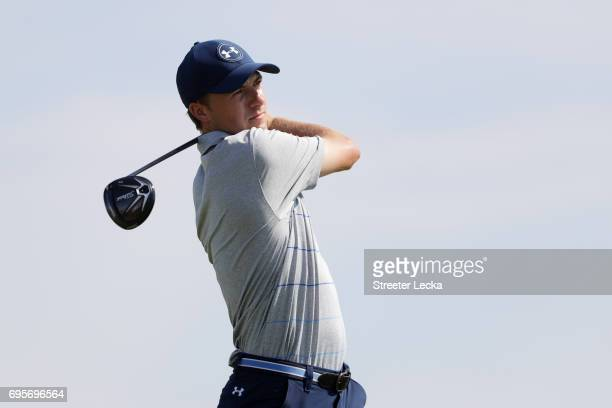 Jordan Spieth of the United States plays his shot from the 11th tee during a practice round prior to the 2017 US Open at Erin Hills on June 13 2017...