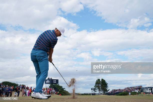 Jordan Spieth of the United States plays his shot from the 13th tee during the final round of the 147th Open Championship at Carnoustie Golf Club on...