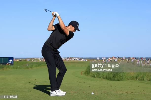 Jordan Spieth of the United States plays his shot from the 14th tee during the first round of the 2021 PGA Championship at Kiawah Island Resort's...