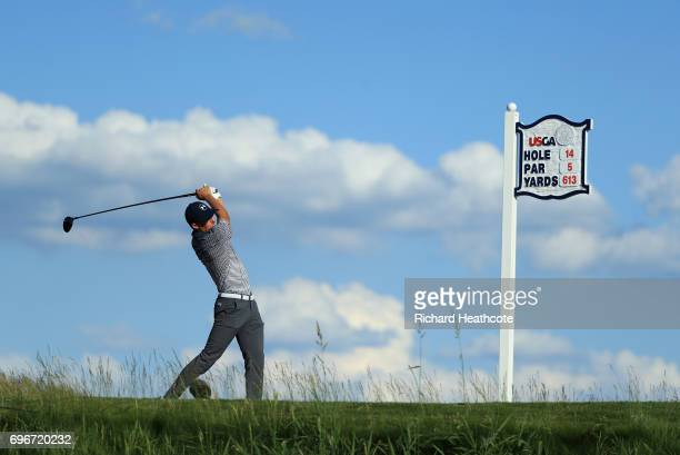 Jordan Spieth of the United States plays his shot from the 14th tee during the second round of the 2017 US Open at Erin Hills on June 16 2017 in...