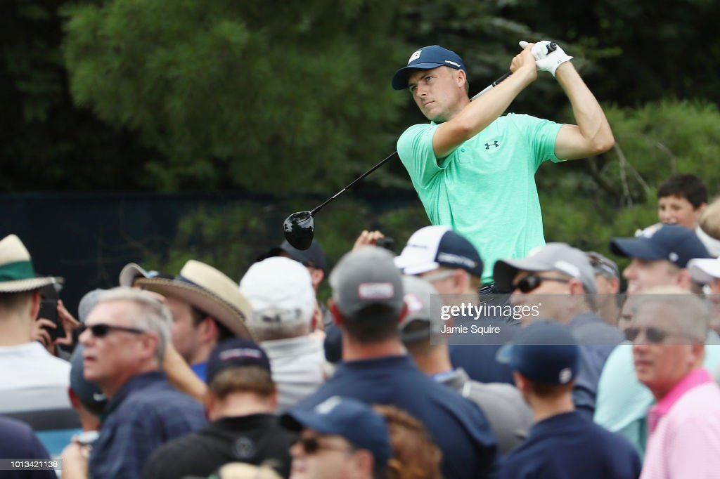 Jordan Spieth of the United States plays his shot from the 15th tee during a practice round prior to the 2018 PGA Championship at Bellerive Country Club on August 8, 2018 in St Louis, Missouri.