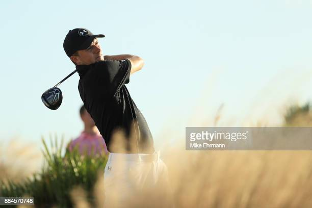 Jordan Spieth of the United States plays his shot from the 15th tee during the third round of the Hero World Challenge at Albany Bahamas on December...