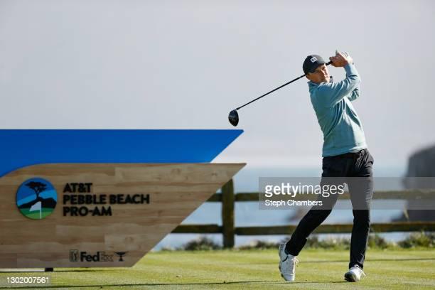 Jordan Spieth of the United States plays his shot from the 18th tee during the third round of the AT&T Pebble Beach Pro-Am at Pebble Beach Golf Links...