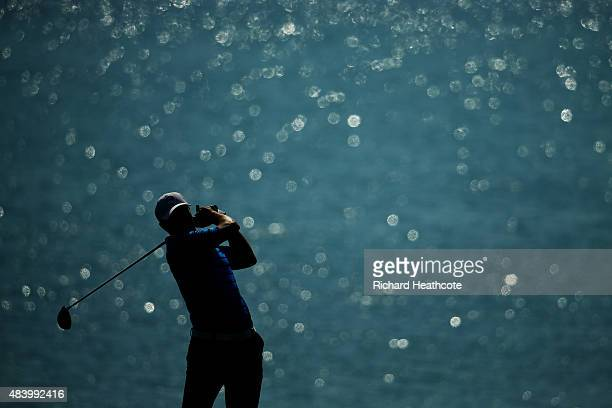 Jordan Spieth of the United States plays his shot from the 18th tee during the second round of the 2015 PGA Championship at Whistling Straits on...