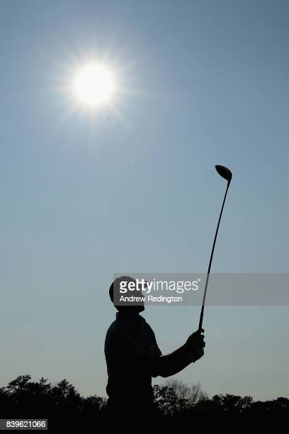 Jordan Spieth of the United States plays his shot from the 18th tee during round three of The Northern Trust at Glen Oaks Club on August 26 2017 in...