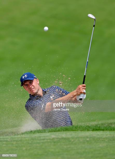 Jordan Spieth of the United States plays his shot from the bunker during a practice round prior to the 2017 U.S. Open at Erin Hills on June 14, 2017...