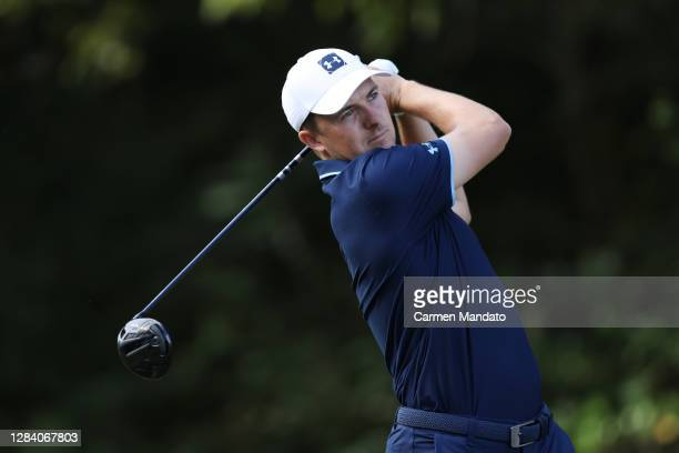 Jordan Spieth of the United States plays his shot from the eighth tee during the first round of the Vivint Houston Open at Memorial Park Golf Course...