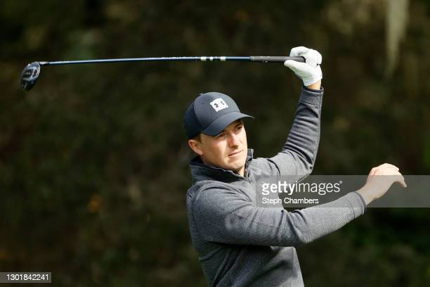Jordan Spieth of the United States plays his shot from the eighth tee during the second round of the AT&T Pebble Beach Pro-Am at Spyglass Hill Golf...