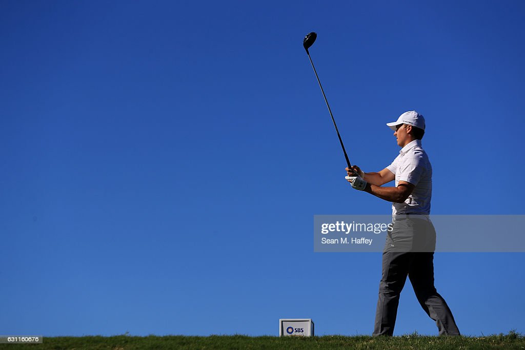 Jordan Spieth of the United States plays his shot from the fifth tee during the third round of the SBS Tournament of Champions at the Plantation Course at Kapalua Golf Club on January 7, 2017 in Lahaina, Hawaii.