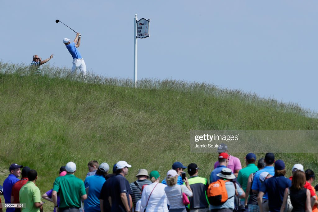 Jordan Spieth of the United States plays his shot from the fifth tee during a practice round prior to the 2017 U.S. Open at Erin Hills on June 12, 2017 in Hartford, Wisconsin.