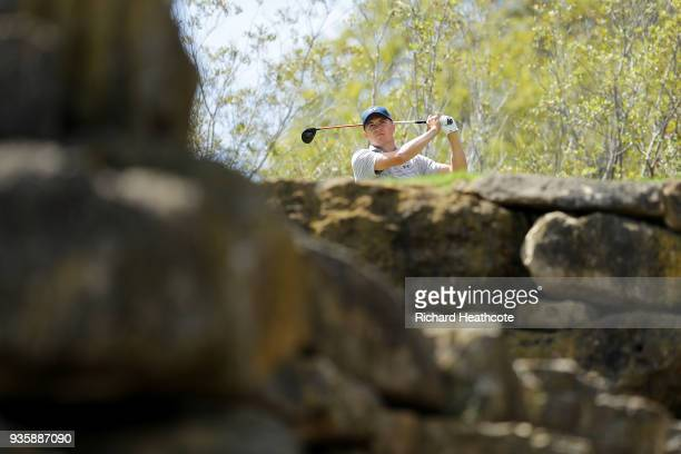 Jordan Spieth of the United States plays his shot from the fifth tee during the first round of the World Golf ChampionshipsDell Match Play at Austin...