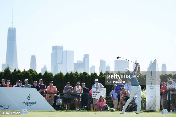 Jordan Spieth of the United States plays his shot from the first tee during the second round of The Northern Trust at Liberty National Golf Club on...
