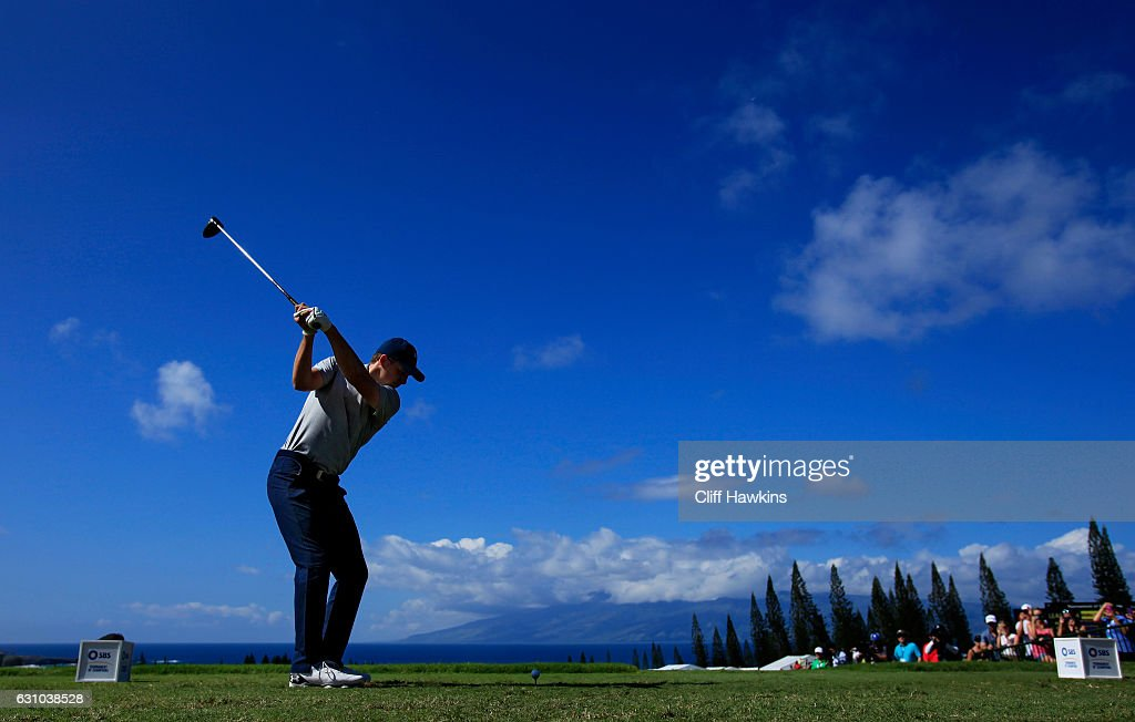 Jordan Spieth of the United States plays his shot from the first tee during the first round of the SBS Tournament of Champions at the Plantation Course at Kapalua Golf Club on January 5, 2017 in Lahaina, Hawaii.