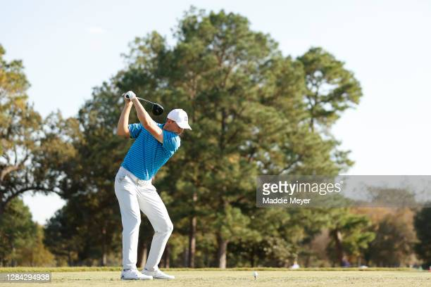 Jordan Spieth of the United States plays his shot from the fourth tee during the second round of the Houston Open at Memorial Park Golf Course on...