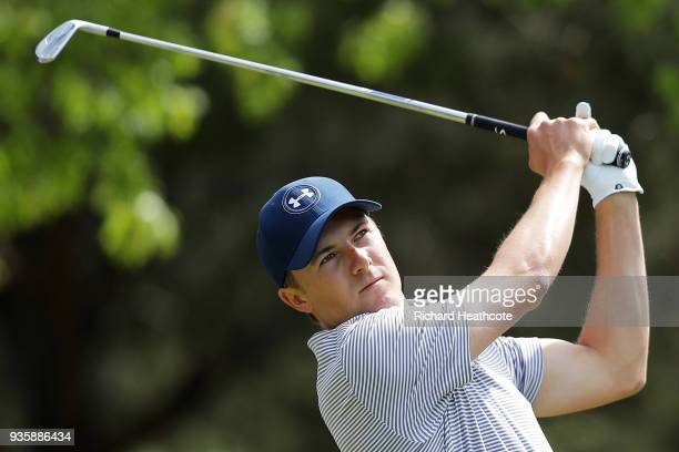 Jordan Spieth of the United States plays his shot from the fourth tee during the first round of the World Golf ChampionshipsDell Match Play at Austin...