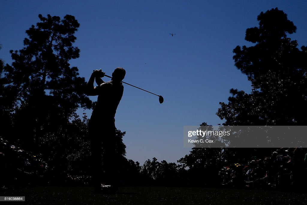 Jordan Spieth of the United States plays his shot from the ninth tee during a practice round prior to the start of the 2016 Masters Tournament at Augusta National Golf Club on April 5, 2016 in Augusta, Georgia.