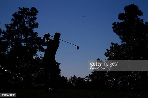 Jordan Spieth of the United States plays his shot from the ninth tee during a practice round prior to the start of the 2016 Masters Tournament at...