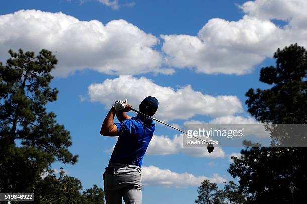 Jordan Spieth of the United States plays his shot from the ninth tee during the second round of the 2016 Masters Tournament at Augusta National Golf...