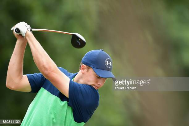 Jordan Spieth of the United States plays his shot from the second tee during the second round of the 2017 PGA Championship at Quail Hollow Club on...