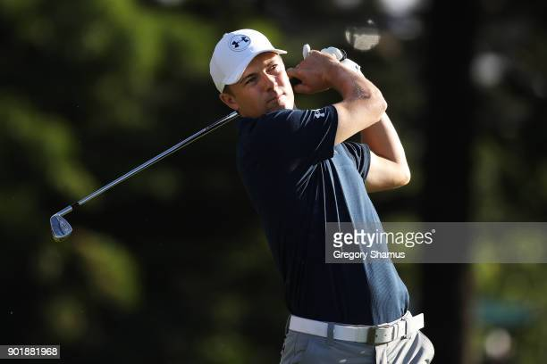 Jordan Spieth of the United States plays his shot from the second tee during the third round of the Sentry Tournament of Champions at Plantation...