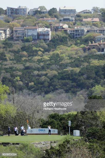 Jordan Spieth of the United States plays his shot from the second tee during the first round of the World Golf ChampionshipsDell Match Play at Austin...