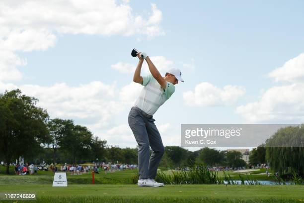 Jordan Spieth of the United States plays his shot from the seventh tee during the third round of The Northern Trust at Liberty National Golf Club on...