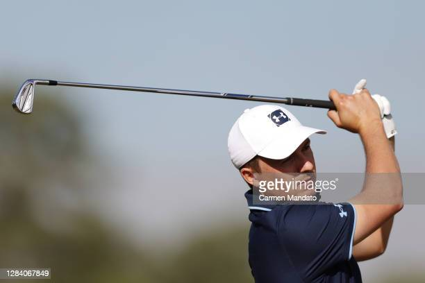 Jordan Spieth of the United States plays his shot from the seventh tee during the first round of the Vivint Houston Open at Memorial Park Golf Course...