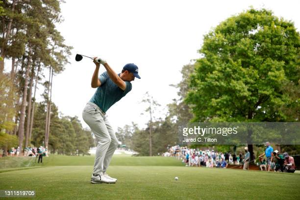 Jordan Spieth of the United States plays his shot from the seventh tee during the first round of the Masters at Augusta National Golf Club on April...