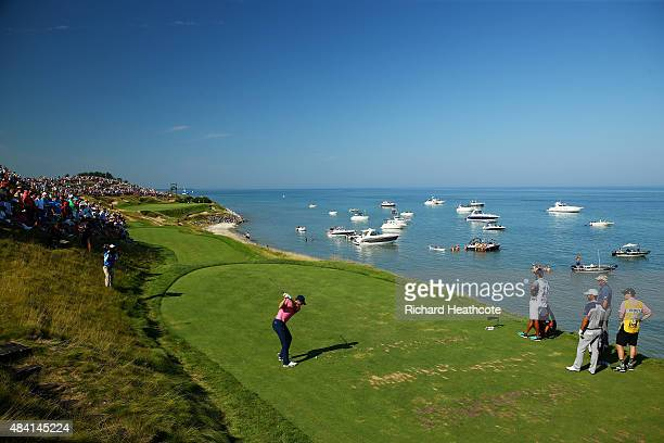 Jordan Spieth of the United States plays his shot from the seventh tee during the third round of the 2015 PGA Championship at Whistling Straits on...